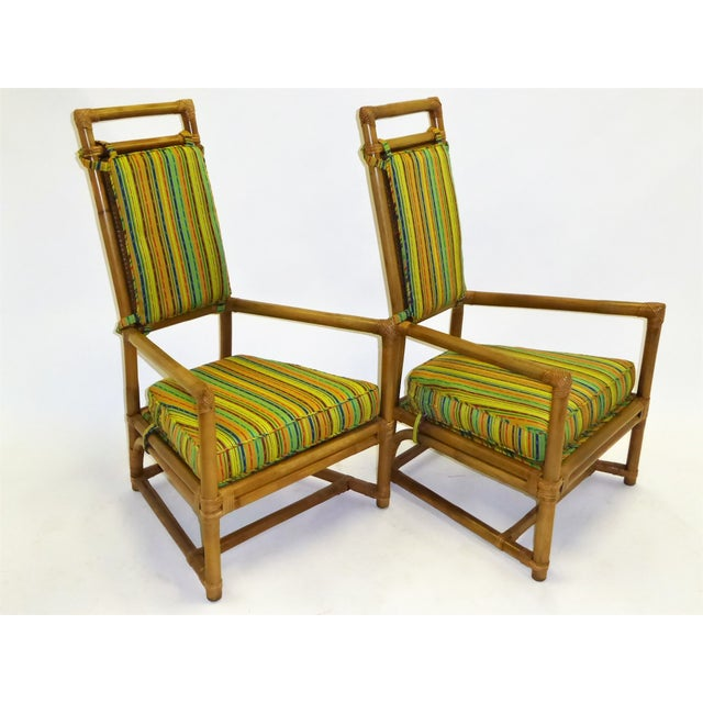 Tommi Parzinger High Back Rattan Armchairs - A Pair For Sale - Image 12 of 13
