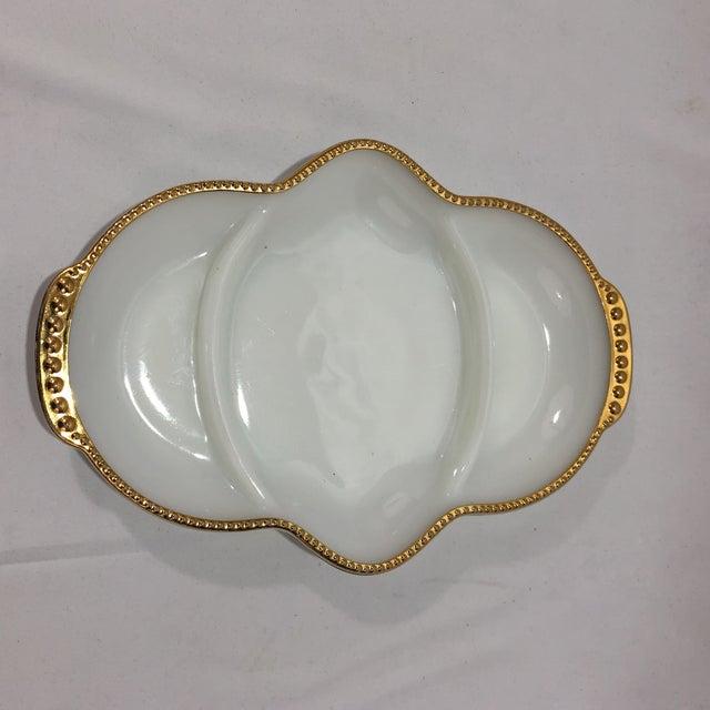 Art Deco Art Deco Fireking Gold Trimmed Milk Glass Dish For Sale - Image 3 of 8