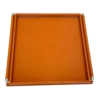 Large Global Views Leather Tray For Sale