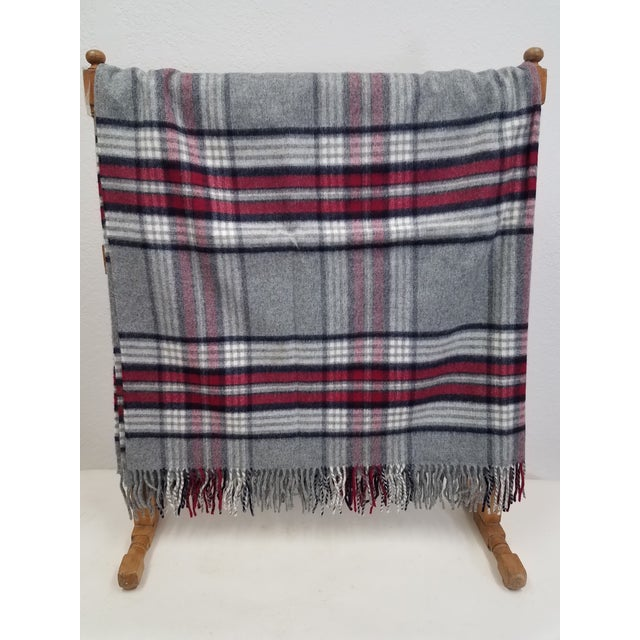 English Wool Throw Red Black Gray WHite Plaid - Made in England For Sale - Image 3 of 12