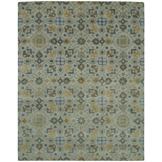 Traditional Hand Tufted Geometric Wool & Cotton Rug - 8' X 10' For Sale - Image 4 of 4