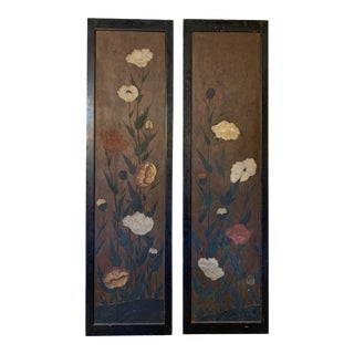 1970s Hand Painted Vintage Asian Style Panels For Sale