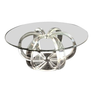 """Mid-Century Modern Lucite """"Atom"""" Coffee Table with Glass Top For Sale"""