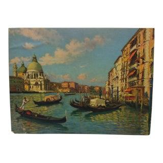 "1930s Vintage C. Boucari ""Gondolas"" Mounted Print For Sale"