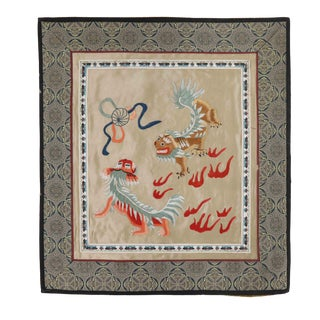 Vintage Asian Antique Silk Embroidery Cloth With Dragon/Tigers in Bordered Golden Backdrop For Sale