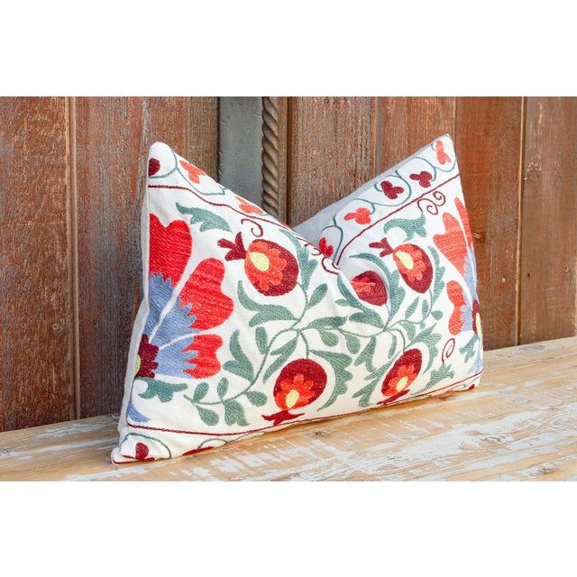 Iris Coral Floral Suzani Pillow For Sale - Image 4 of 9