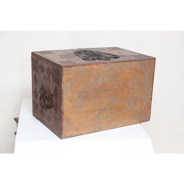 Gold Tooled Leather Spanish Bargueno Traveling Chest For Sale - Image 8 of 8