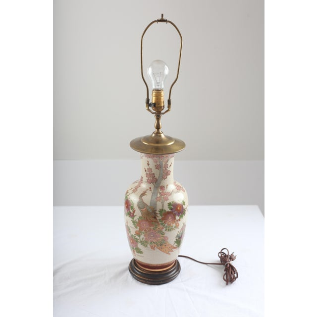Chinoiserie Peacock and Cherry Blossom Brass Lamp - Image 2 of 7