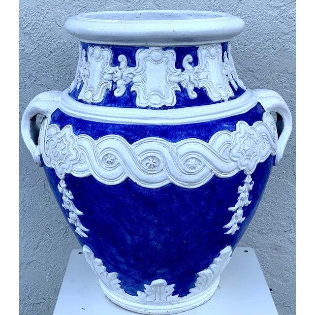 Italian Blue and White Della Robbia Style Jardiniere, Provenance, Celine Dion For Sale - Image 4 of 11