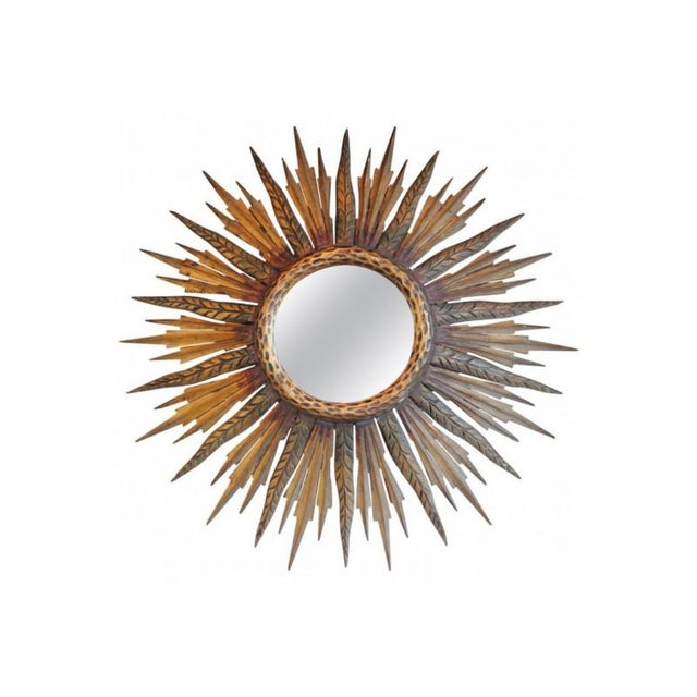 Gold Midcentury French Sunburst Mirror With Feathered Rays and Original Mirror Glass For Sale - Image 8 of 8