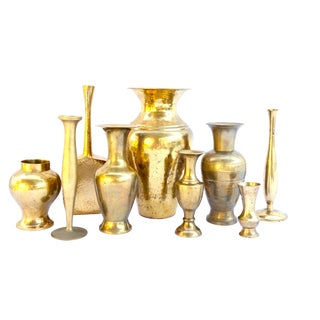 Collection of Assorted Vintage Brass Vases | Lot of 9 | Wedding Décor |Boho-Chic Centerpiece |Memorable Tablescape Ambiance |Gold Bud Vases For Sale