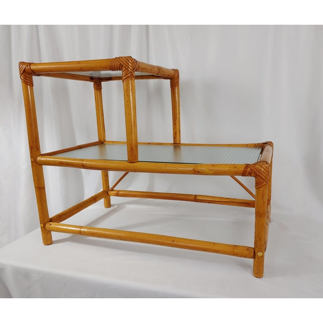 1960 Small Modern Stepped Rattan Table For Sale - Image 4 of 4