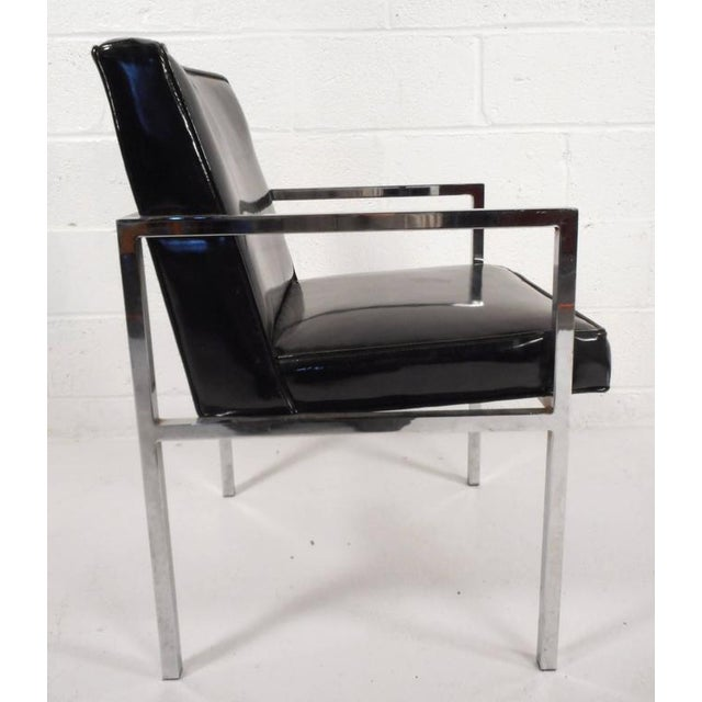 Contemporary Mid-Century Modern Vinyl and Chrome Dining Chairs - Set of 4 For Sale - Image 3 of 8