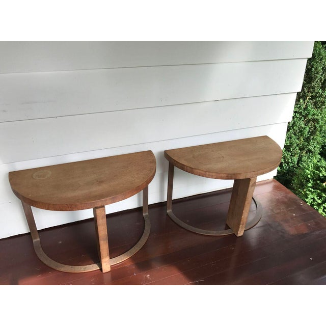 Artist Crafted Wood and Steel Demilune Side Tables - a Pair - Image 2 of 7