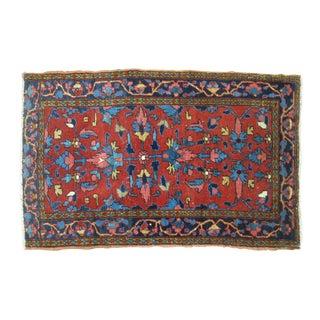 Persian Heriz Red & Blue Rug- 2'7'' x 4'2''