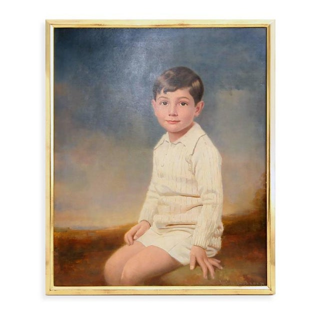 1920s 1929 Seated Young Boy Portrait Painting by Joshua Smith R.B.A. For Sale - Image 5 of 9