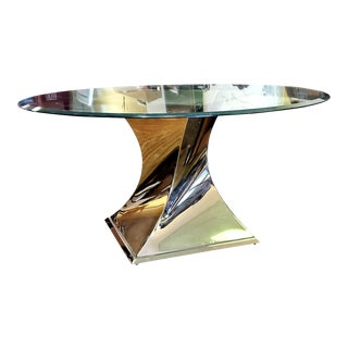 Do A 360' Twisting Gold Bullion Base Round Glass-Top Dining Table For Sale