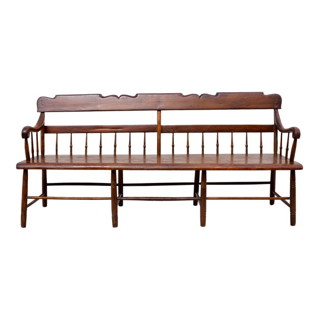 Pennsylvania Plank Half Spindle Bench For Sale