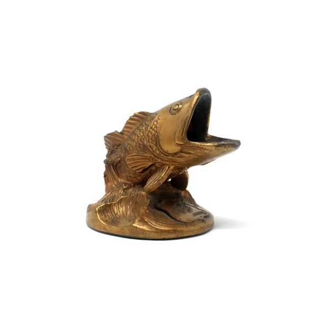 This is a rare, brass ashtray in the form of a largemouth bass, from the former Laurel's Country Club on Sackett Lake,...
