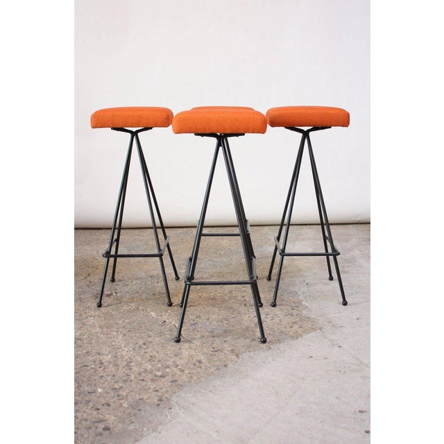 Rare, early set of #11 barstools designed by Adrian Pearsall for Craft Associates in the 1950s. Forged wrought iron...
