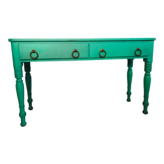 Mediterranean Peacock Blue Running Table For Sale