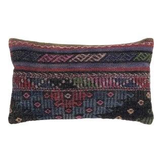 "Jewel Tone Kilim Lumber Pillow | 12 X 20"" For Sale"