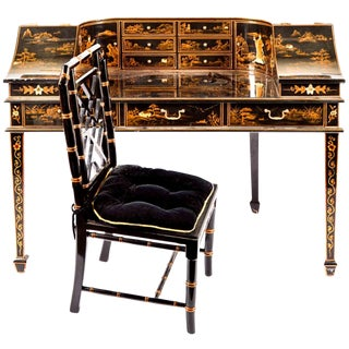 Chinoiserie Carlton House Laquered Desk & Bamboo Chair Set For Sale