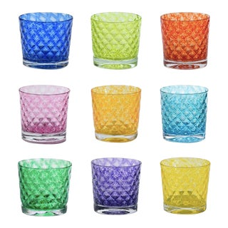 Mindala Glasses in Rainbow - Set of 9 For Sale