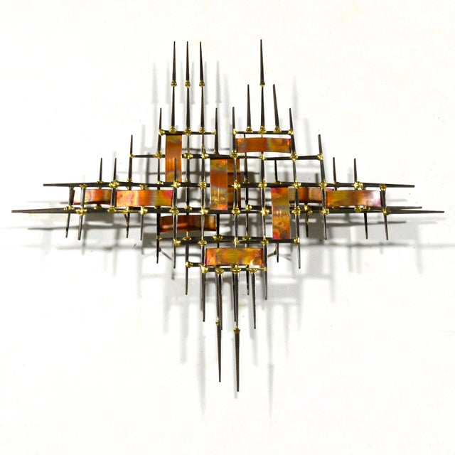 Gold Abstract Wall Sculpture in Iron, Bronze & Copper For Sale - Image 8 of 9