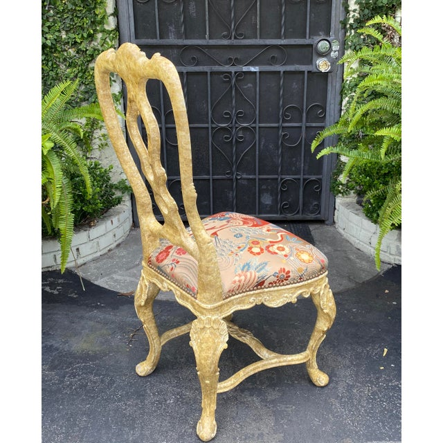 Italian Pair of Antique Venetian Side Chairs W Scalamandre Silk Lampas For Sale - Image 3 of 6