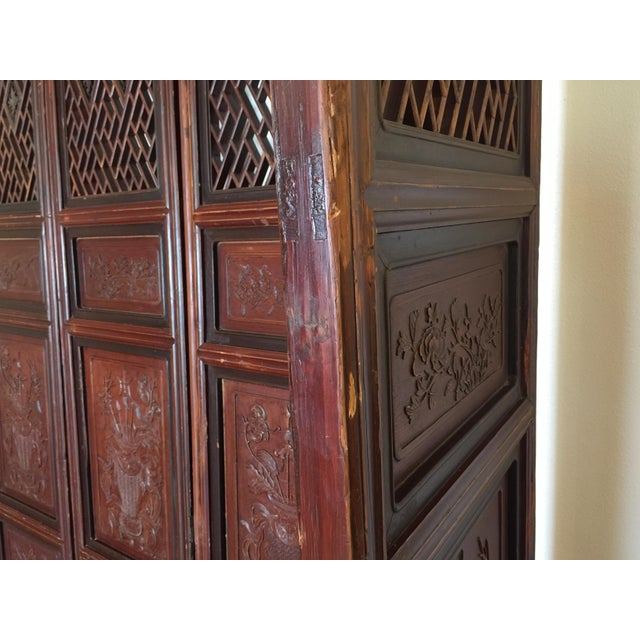 Brown Antique Chinese Carved Wood Doors - Set of 4 For Sale - Image 8 of 12