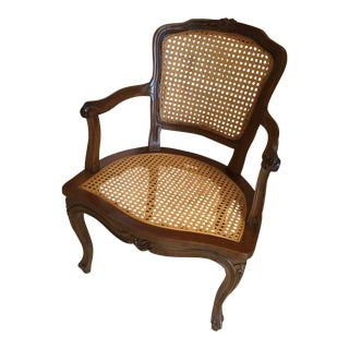 Mid-Century Italian Caned Arm Chair For Sale