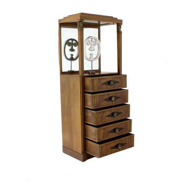 Brown Empire Vitrine Light Up Display Cabinet or Chest of Drawers For Sale - Image 8 of 9