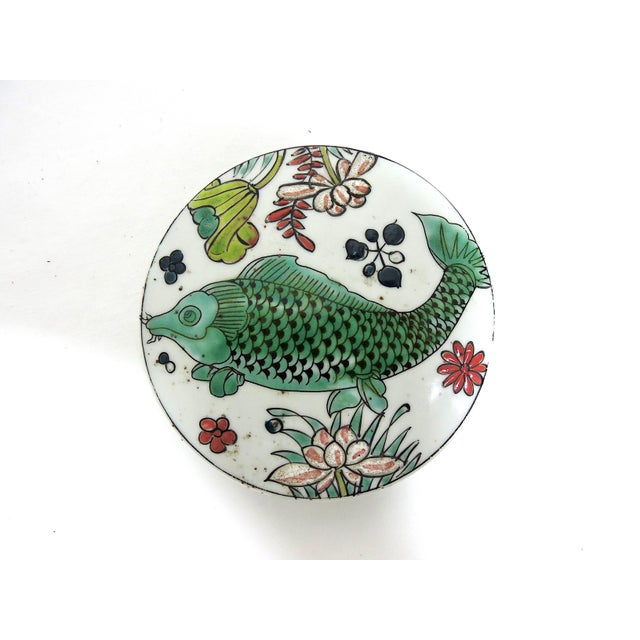 White 'Kangxi' Chinese Pink & White Lotus Flower Porcelain Ginger Jar With Green and Blue Fish For Sale - Image 8 of 10