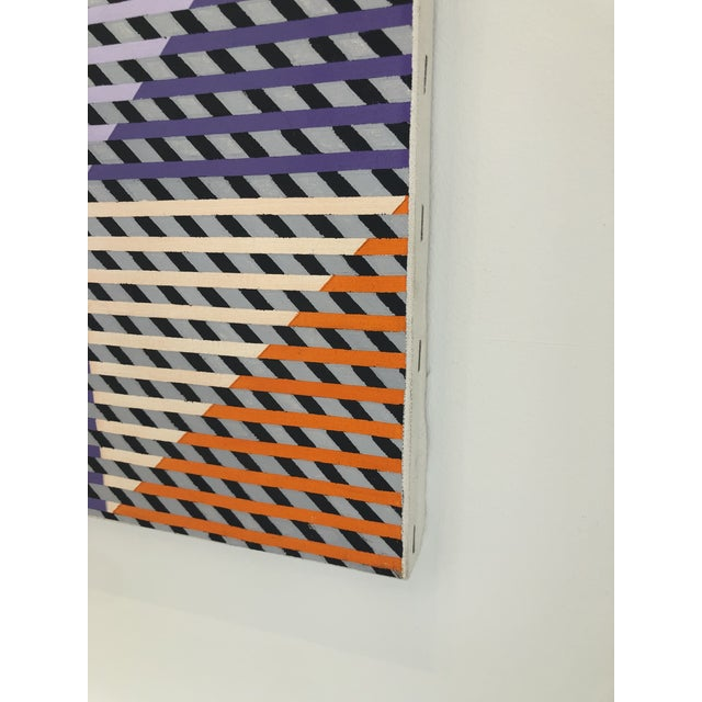 Abstract 1980s Gabe Silverman Abstract Op Art Painting on Canvas For Sale - Image 3 of 10