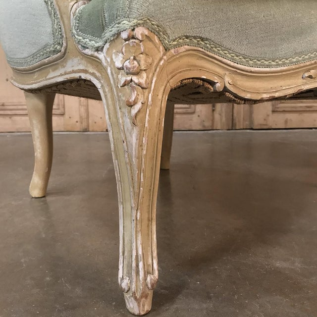 Wood Pair 19th Century French Louis XV Bergeres ~ Armchairs For Sale - Image 7 of 12