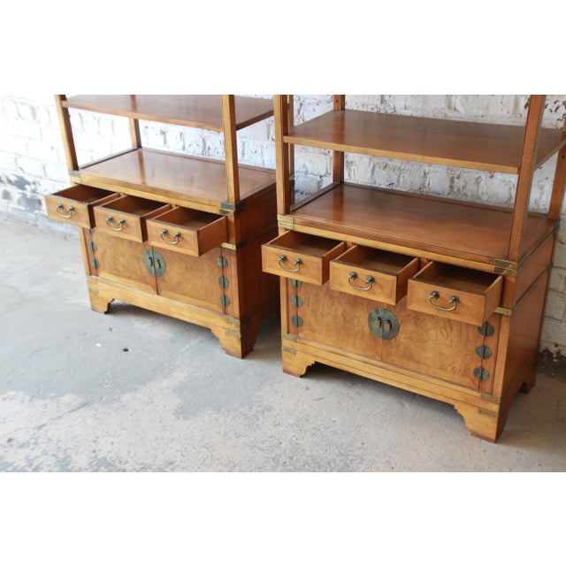 Michael Taylor for Baker Far East Collection Burl Wood Wall Units, Pair For Sale In South Bend - Image 6 of 13