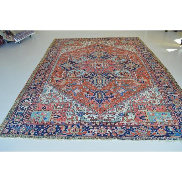 """Antique Persian Heriz Rug - 8'1"""" x 11'2"""" - Image 3 of 7"""