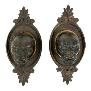Early 20th Century Bronze Panther Head Sconces - a Pair For Sale