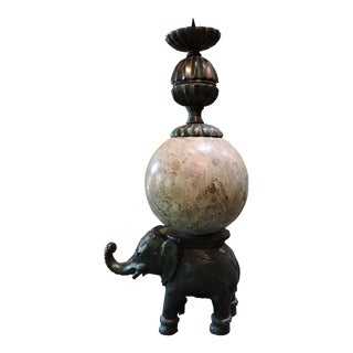 Cast Bronze Elephant Candlestick With Semi-Precious Stone Sphere