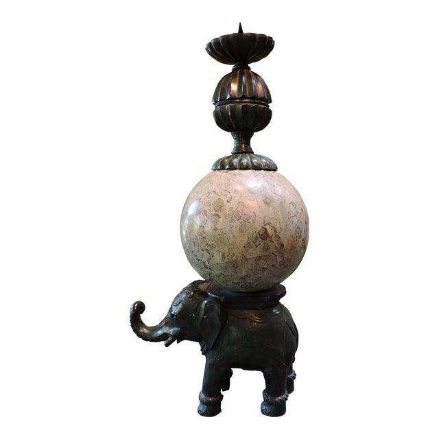 Cast Bronze Elephant Candlestick With Semi-Precious Stone Sphere For Sale