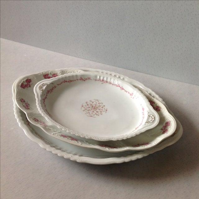 Austrian White & Pink Rose Platters - Set of 3 - Image 3 of 11