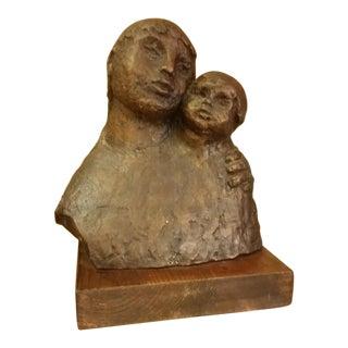 1968 Signed Bronze Mother & Child Sculpture For Sale