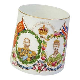 Antique Circa 1911 George V & Mary English Porcelain Coronation Mug Cup For Sale