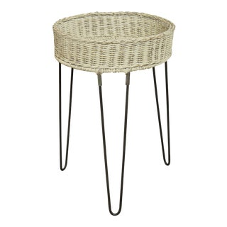 Round Wicker Planter Table With Hairpin Legs For Sale