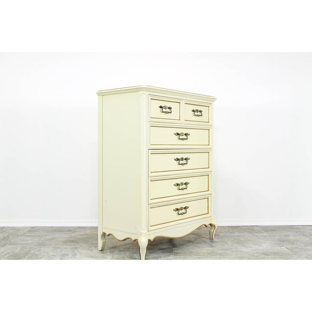 Vintage Provincial Cream Highboy Chest of Drawers For Sale In Miami - Image 6 of 10