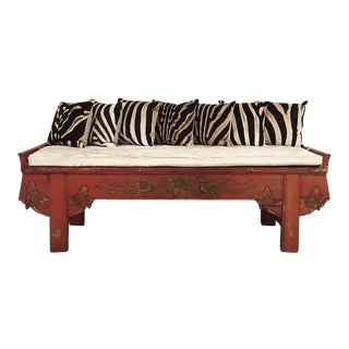 Carved Phoenix Bird Bench & Pillows
