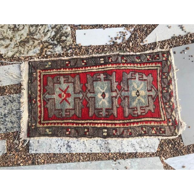 "Hand Made Vintage Tribal Turkish Runner Rug Mat 1'8""x2'9"" For Sale - Image 4 of 8"
