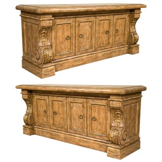 Pair of Monumental Renaissance Style Sideboards or Buffets Exquisitely Carved For Sale