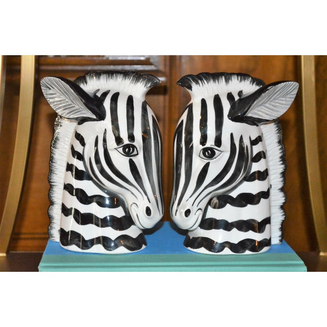 1970s Boho Chic Fitz & Floyd Porcelain Zebra Bookends - a Pair For Sale - Image 9 of 10